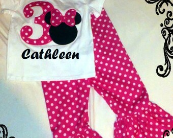 Pink Minnie Mouse Birthday OUTFIT - Shirt & Ruffled Pants - Small Hot pink dots 1st 2nd 3rd 4th 5th 6th Party 9 12 18 24 month 2t 3t 4t 5t 6