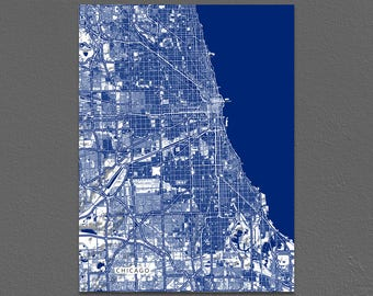 Chicago Illinois, Chicago Map, City Map Art Print, Navy Blue