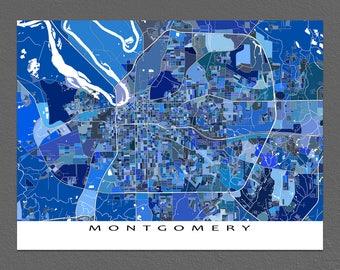 Montgomery Map Art, Montgomery Alabama USA, US City Maps