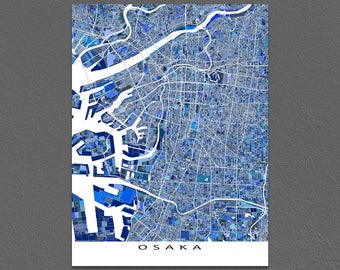 Osaka Map Art Print, Osaka Japan, City Artwork