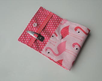 """Pocket hair clip """"flamingo"""" in cotton , small format"""