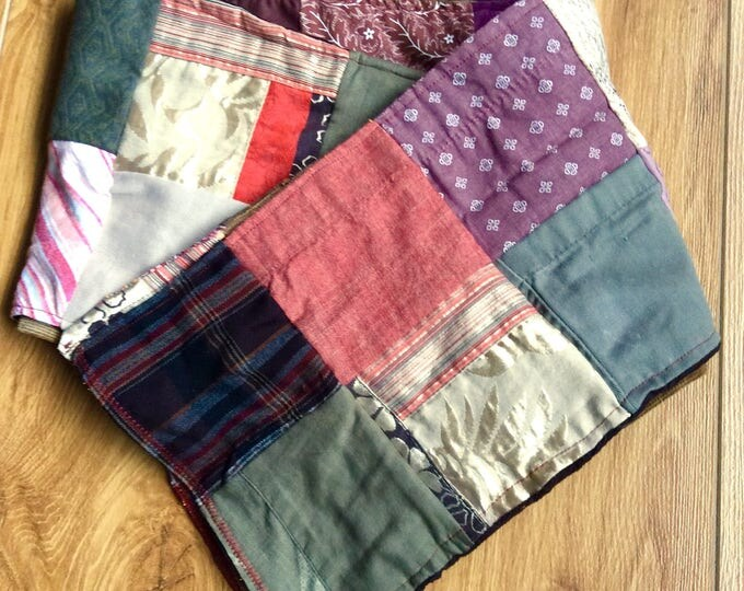 "Patchwork Scarf- ""Lagom"" -Womens Scarf, Denim,  Corduroy, Fleece, Upcycle, Made in Ireland, Cosy, Irish Winter, TheSwedishFlicka"