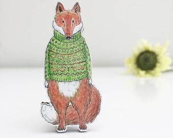 Mr Fox Wooden Brooch