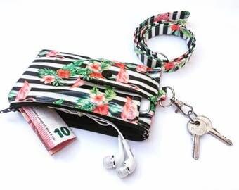 iPhone 8 Plus wallet case, Phone clutch, Flamingo lanyard, iPhone case lanyard,  Cell Phone Lanyard Wallet, iphone 7 Plus pouch