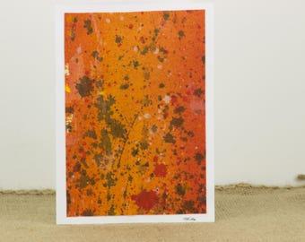 Abstract Art Card, Original Art Card, All Occasion Card, Nancy Little Art, Canvas Painting Card, Orange Art Card, Abstract Painting Card