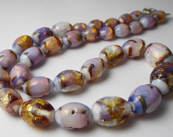 Antique Art Deco Italian Venetian Glass Opaline Foil Glass Beads
