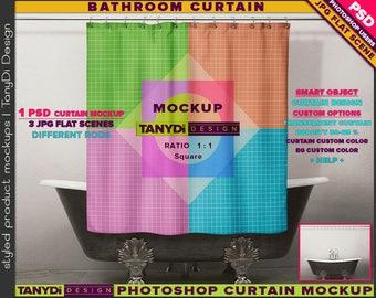Bathroom Square Shower Curtain   Photoshop Curtain Mockup BC-M1-3   Vintage metal bathtub   Smart Object Custom colors