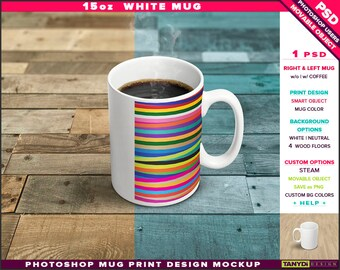 15oz White Coffee Mug | Photoshop Print Mockup M16-2 | Movable Right & Left Mug | Steaming coffee | Wood Floors | Smart object
