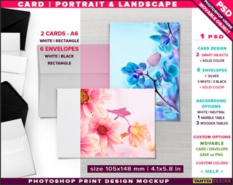 Greeting Card A6 | Photoshop Desktop Print Mockup | Portrait Landscape Card & 6 Envelopes on Wooden Table | Smart object Custom colors
