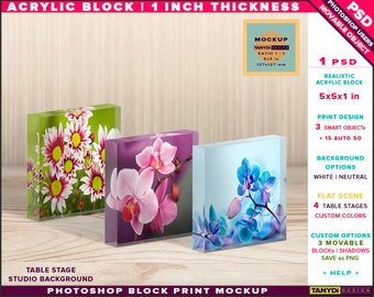 5x5x1 Acrylic Photo Block | Photoshop Block Print Mockup | Set of 2 or 3 Blocks on Wooden Fabric Table | Smart object Custom colors