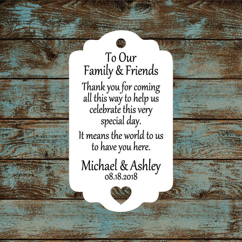 Destination Wedding Thank You Favor Tags With Heart Cut Out 775
