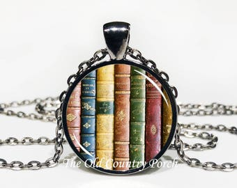 Old Books-Glass Pendant Necklace/Graduation gift/mothers day/student gift/Gift for her/girlfriend gift/friend gift/birthday gift