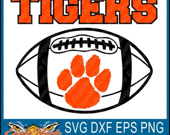 Tigers Football| SVG| DXF| EPS| Png| Cut File| Tigers| Football| Mom| Dad| Sister| Brother| Vector| Instant Download