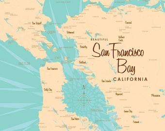 San Francisco Bay, CA Map - Canvas Print