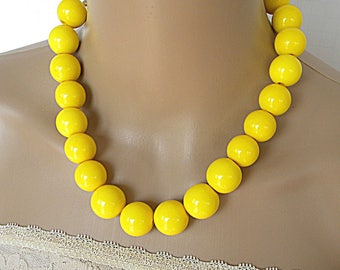 Yellow necklaces for women, beaded necklace, statement necklace, long necklace, jewelry set, everyday necklace, simple necklace, chunky