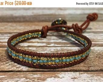 SUMMER SALE Turquoise Beaded Bracelet / Boho Bracelet / Leather Wrap Bracelet / Bead Loom Bracelet / Chan Luu Style / Seed Bead Bracelet