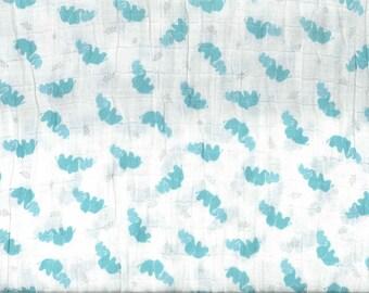 Fabric Double gauze turquoise elephants