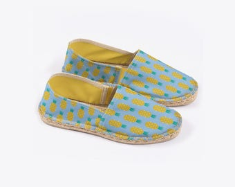 New! Disco Pineapple Unisex Espadrilles in Sky – Suzie London handmade 70s retro espadrille summer festival sandals with yellow lining