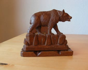 Vintage Swiss wood carving, expandable book ends, Black Forest Bears