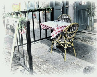 Romantic Art, Old Montreal Photography, Sidewalk Cafe Photography, Bistro Chairs, Travel Photography, Kitchen Wall, Kitchen Wall Art, Lovers