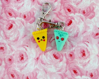 Poke-cake charms / miniature food / food charm / pie slice / anime characters / polymer clay charms / cake charm / stitch marker / knitting