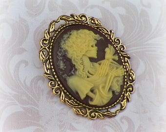 Cameo Pin Brooch Purple Gold Pastel Goth Victorian Vintage Style Steampunk Gothic Skeleton Antique Gold Style