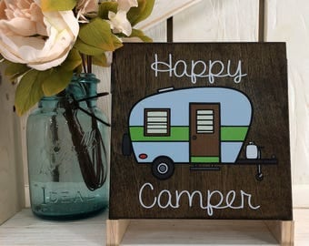 Happy Camper Wood Sign Camping Vintage style
