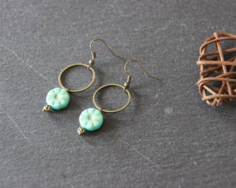 fine earrings, Bohemian chic, minimalist, round turquoise bead, bronze ring