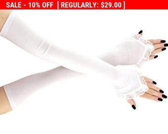 extra whites long fingerless gloves, white arm warmers , burlesque, white lace gloves, womens  gloves,  wedding gloves, lace gloves  0845