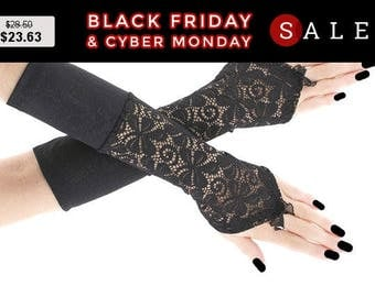 Long black lace fingerless gloves, arm warmers  gothic burlesque, romantic gothic bridal gloves, womens evening gloves, wedding glove 0760
