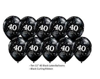 40th Black Latex Balloons