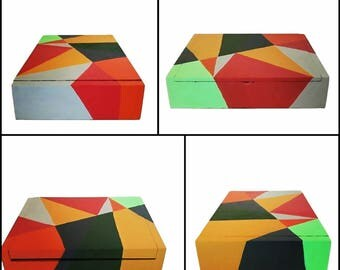 Painted Wooden Cigar Box Geometric Design Small Storage Jewelry Box Up-Cycled Keepsake Red Teal Orange Yellow Gray Shapes