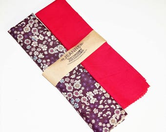 Set of 2 Frou Frou Fabric Tissues 50 x 50 cm in Plum Blossom and Burgundy Glamor 55 x 50 cm