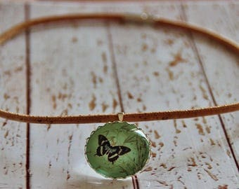 Necklace made of cork and glass vegan butterfly