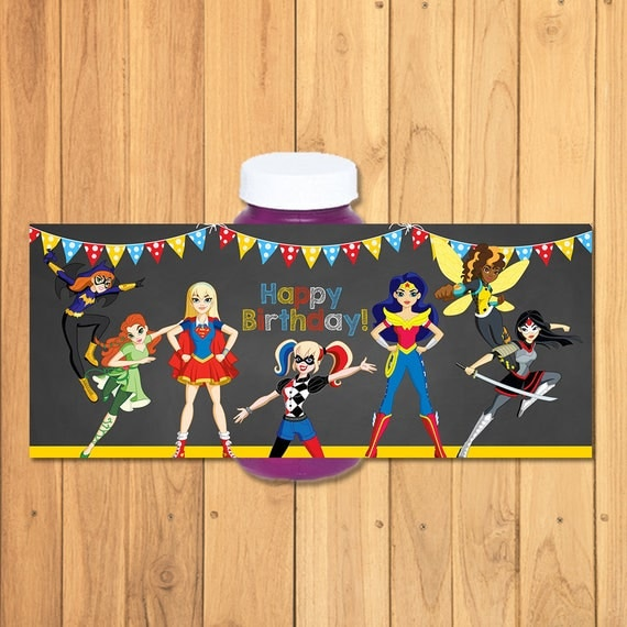 DC Superhero Girls Bubble Label Chalkboard - DC Superhero Girls Bubble Bottle Label - DC Superhero Girl Favors - Dc Superhero Girls Birthday
