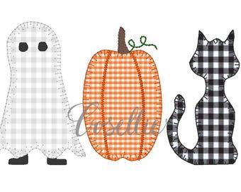 Halloween embroidery design, Cat and pumpkin embroidery design, Vintage stitch Halloween, Ghost embroidery design, Halloween design