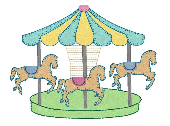 carousel embroidery design merry go round embroidery file. Black Bedroom Furniture Sets. Home Design Ideas