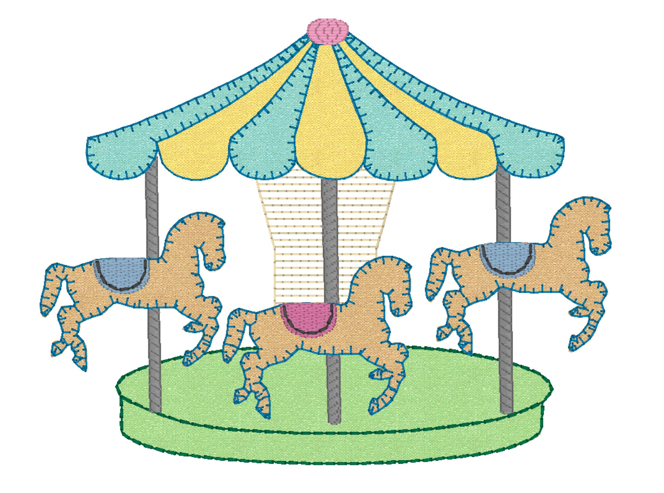 carousel embroidery design merry go round embroidery file vintage stitch carnival fair. Black Bedroom Furniture Sets. Home Design Ideas