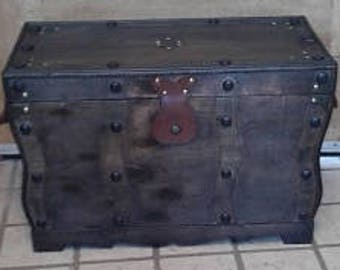 Distressed Black Coffee Table Trunk