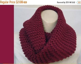 50% OFF SALE Wine Infinity scarf Loop Circle Plum Cowl scarf chunky made knit stripe Rose fig Acrylic Wool Ready To SHIP Christmas gift sale