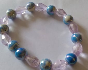 Speckled blue and clear pink bracelet