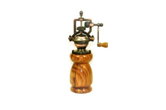 Handmade Traditional Style Pepper Grinder. Pepper Mill Made from English Sweet Chestnut Wood with Antique-Style Brass Fittings