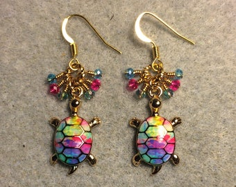 Turquoise, bright pink and teal enamel turtle charm earrings adorned with tiny turquoise, bright pink and teal Chinese crystal beads.