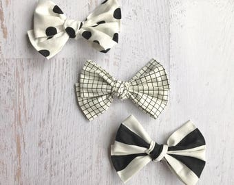Fabric Bows | Polka Dot Bows | Grid Bows | Stripe Bows | Monochrome Bows | Black and White Bows | Baby Bows | Toddler Headbands | Hair Bow
