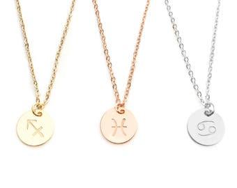 Cancer Zodiac Necklace Gift Women Zodiac Jewelry Zodiac Sign Constellation taurus Leo zodiac Charm - CN-ZS