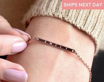 Personalized Jewelry Monogram bracelet Chain & Link Bracelets Inspirational Bracelet engraved bracelet for women graduation gift - 1BR
