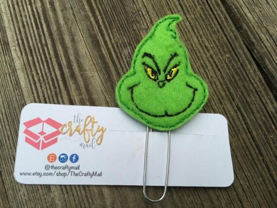 Mean Green Planner Clip/Paper Clip/Feltie Clip. Christmas planner clips. Holiday planner clip. Christmas planner clip