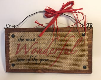 Wood Burlap The Most Wonderful Time of The Year Sign