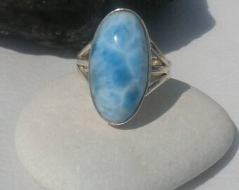 Larimar Stone Ring In Sterling Silver 925, Handmade