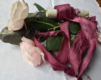 BERRY plant dyed silk ribbon / recycled ribbon / sari silk / eco dye / hand dye / wedding ribbon / stationery ribbon / photo prop / styling